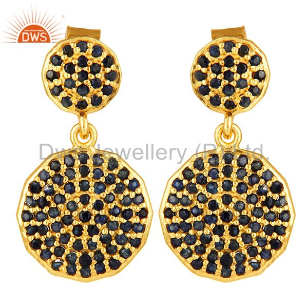 Pave Set Blue Sapphire Disc Dangle Earrings In 14K Gold Over Sterling Silver