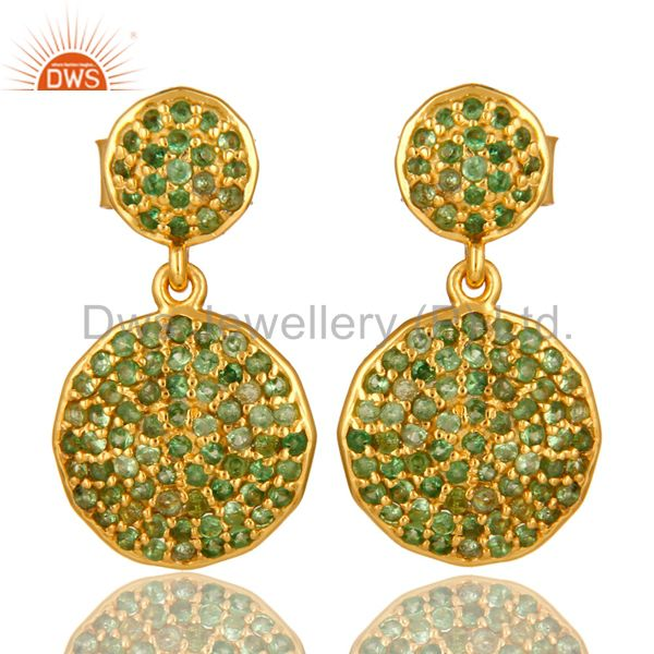 14K Yellow Gold And Sterling Silver Pave Set Tsavorite Disc Dangle Earrings