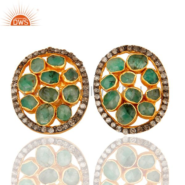 Natural Emerald And Pave Diamond Sterling Silver Halo Stud Earrings - Gold Plate