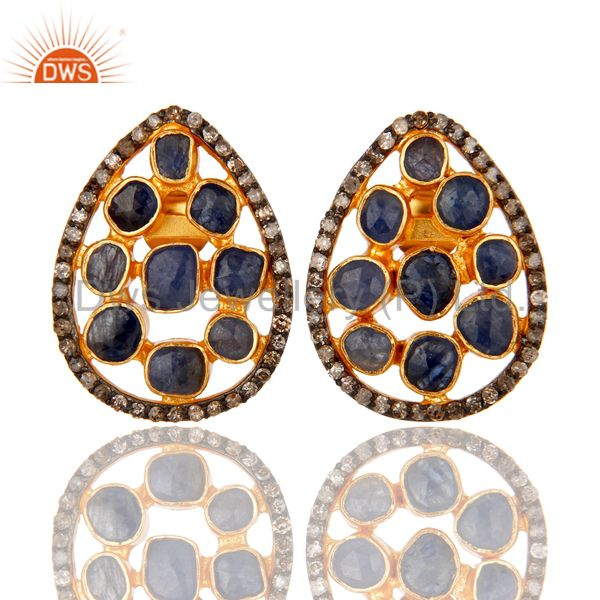 Natural Blue Sapphire Pave Diamond Stud Earrings 18K Gold Over Sterling Silver