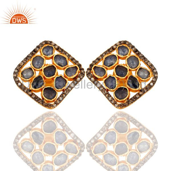 Blue Sapphire Rough Pave Diamond Sterling Silver Studs Earrings - Gold Plated