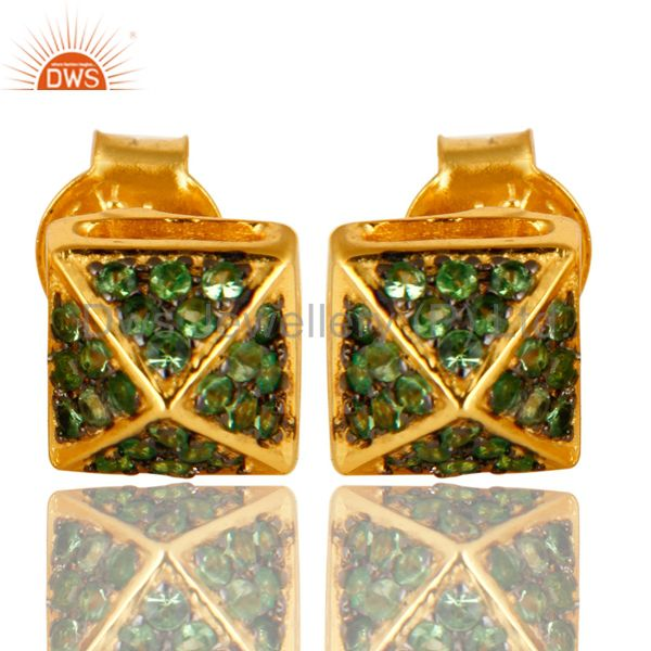 14K Yellow Gold Plated Sterling Silver Pave Set Tsavorite Womens Stud Earrings