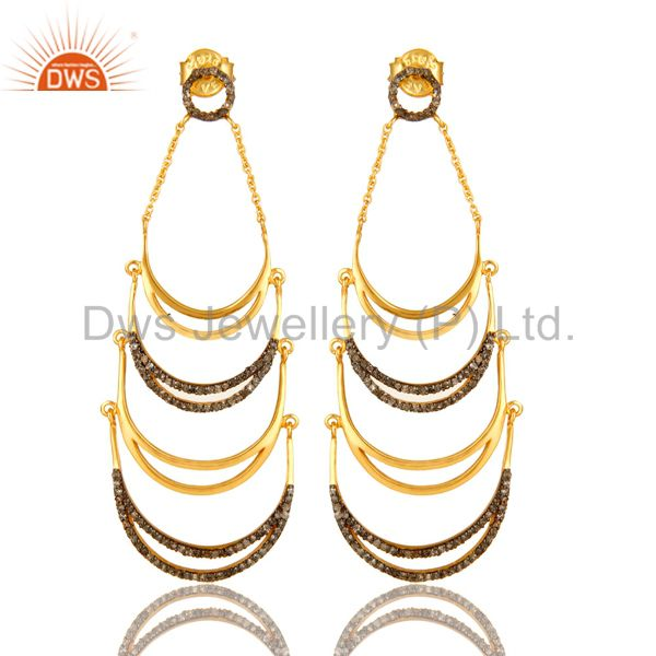 18K Yellow Gold Plated Sterling Silver Pave Set Diamond Dangle Earrings