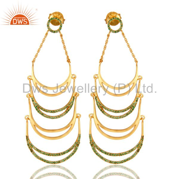 14K Yellow Gold Plated Sterling Silver Tsavourite Designer Dangle Earrings