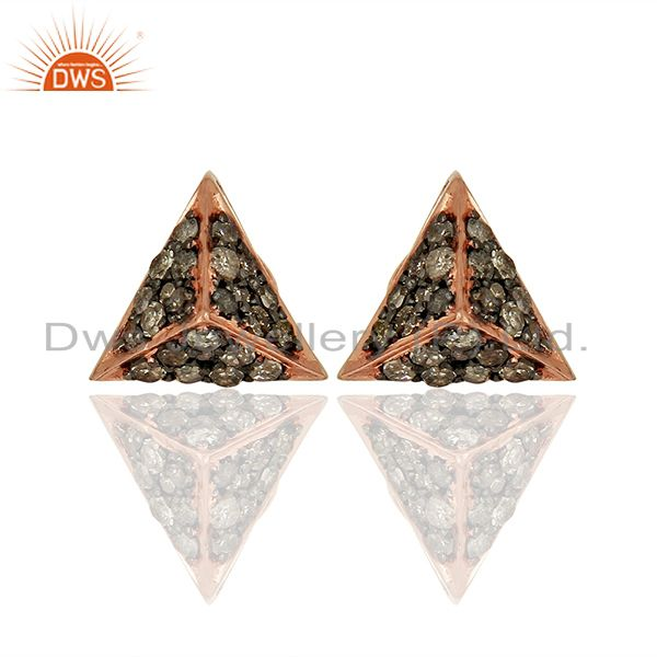 Wholesale Rose Gold Plated Pave Diamond Stud Earrings Jewelry Supplier