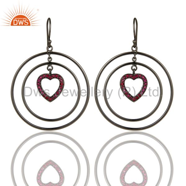 Oxidized Sterling Silver Pave Set Ruby Heart Design Multi Circle Dangle Earrings