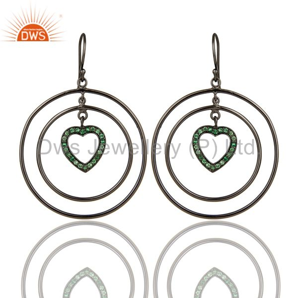 Oxidized Sterling Silver Tsavourite Heart Design Multi Circle Dangle Earrings