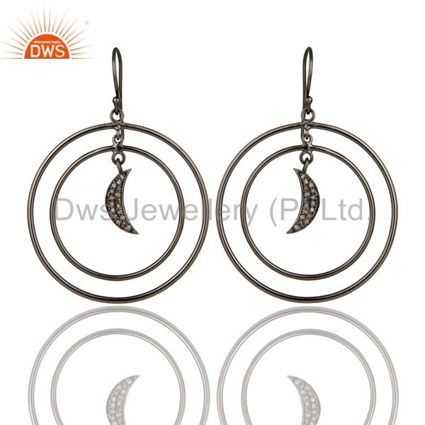 Oxidized Sterling Silver Pave Diamond Half Moon Charm Circle Dangle Earrings