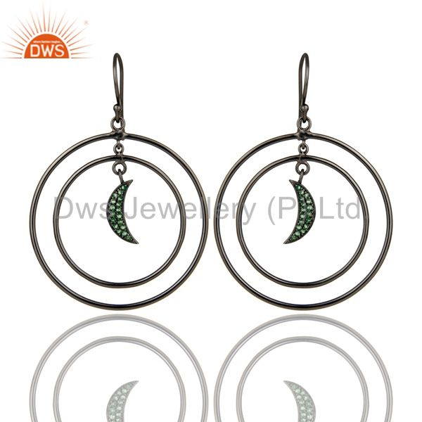 Oxidized Sterling Silver Tsavourite Half Moon Charm Circle Dangle Earrings