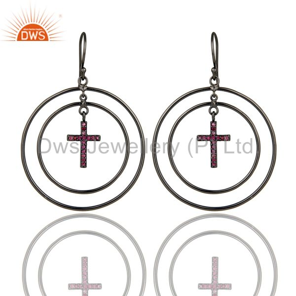 Oxidized Sterling Silver Pave Setting Natural Ruby Cross Circle Dangle Earrings