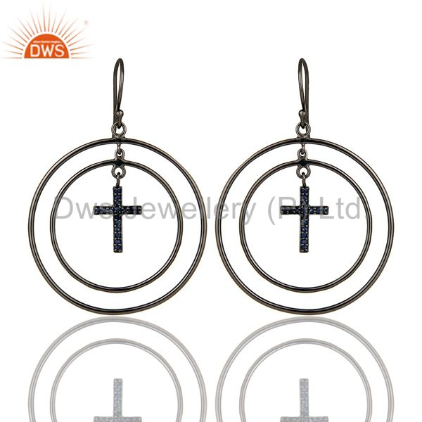 Oxidized Sterling Silver Pave Setting Blue Sapphire Cross Circle Dangle Earrings