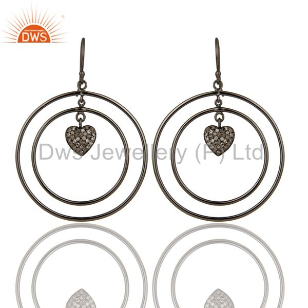 Oxidized Sterling Silver Pave Set Diamond Heart Design Circle Dangle Earring