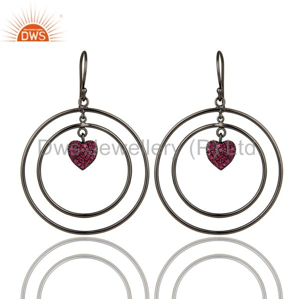 Oxidized Sterling Silver Pave Set Ruby Heart Design Circle Dangle Earrings