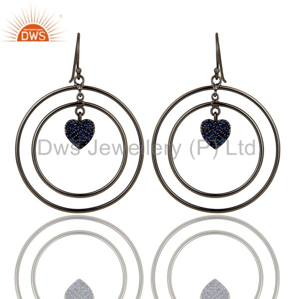 Oxidized Sterling Silver Pave Blue Sapphire Heart Design Circle Dangle Earrings