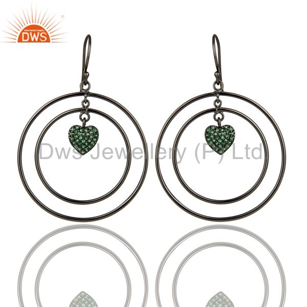 Oxidized Sterling Silver Pave Set Tsavorite Heart Design Circle Dangle Earrings