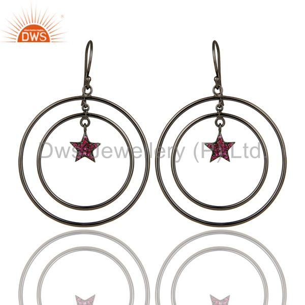 Oxidized Sterling Silver Pave Set Ruby Star Design Multi Circle Dangle Earrings