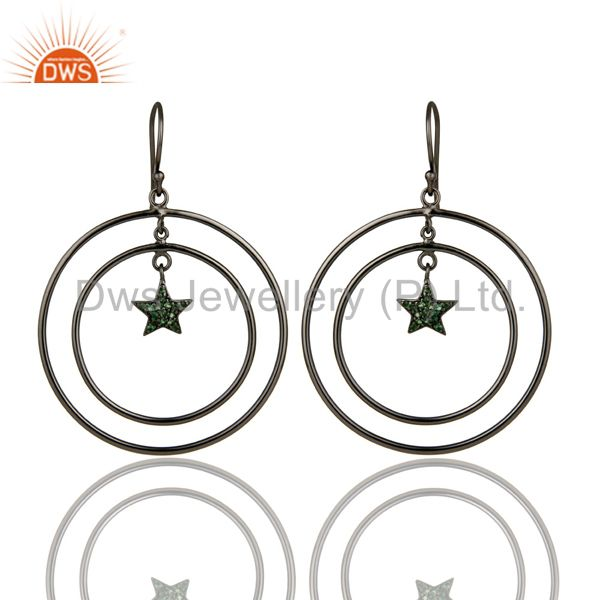 Oxidized Sterling Silver Pave Set Tsavorite Star Multi Circle Dangle Earrings