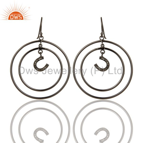 Oxidized Sterling Silver Pave Diamond Horseshoes Design Circle Dangle Earring