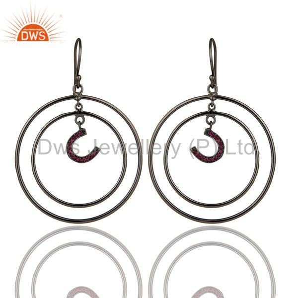 Oxidized Sterling Silver Pave Ruby Horseshoes Design Multi Circle Dangle Earring