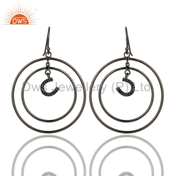 Oxidized Sterling Silver Pave Blue Sapphire Horseshoes Circle Dangle Earring