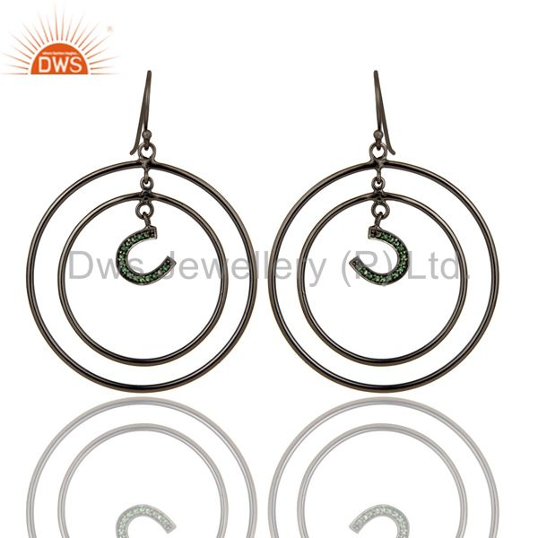 Oxidized Sterling Silver Pave Tsavourite Horseshoes Multi Circle Dangle Earring