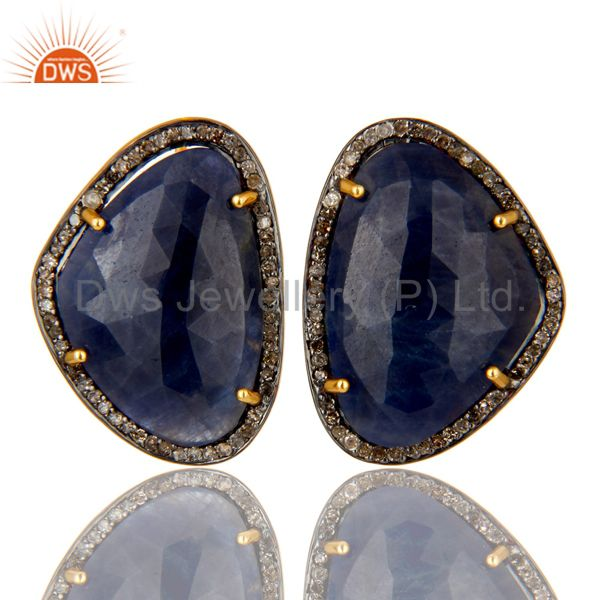 14K Gold Over Sterling Silver Pave Set Diamond And Blue Sapphire Stud Earrings