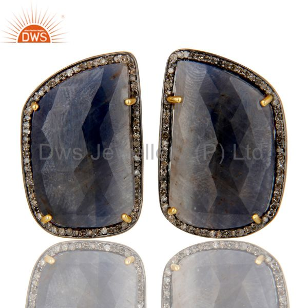 Pave Diamond And Blue Sapphire Stud Earrings In 18K Gold Over Sterling Silver
