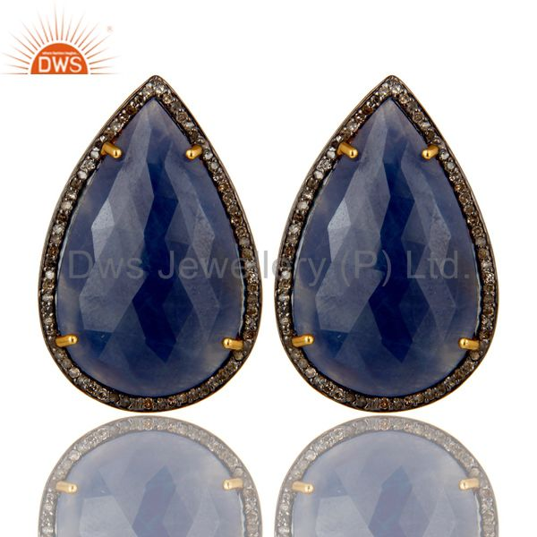 14K Gold Over Sterling Silver Pave Diamond And Blue Sapphire Drop Stud Earrings