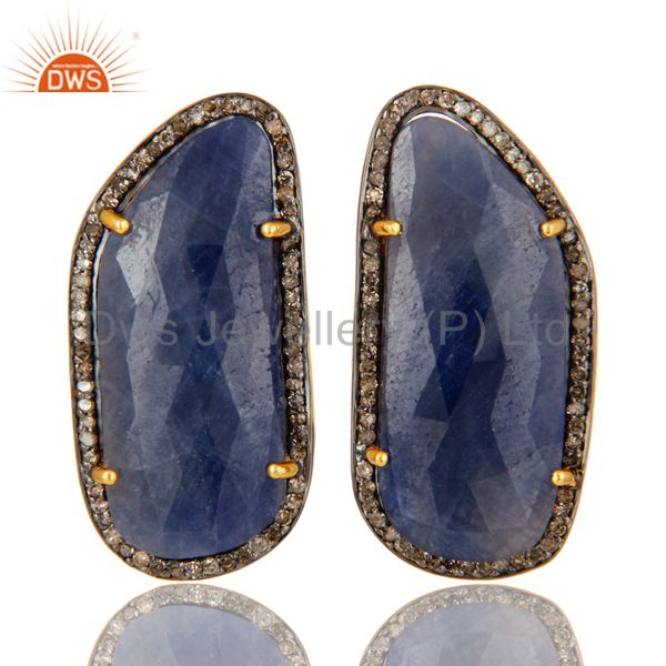 Blue Sapphire Pave Diamond Sterling Silver 18k Gold Stud Earrings