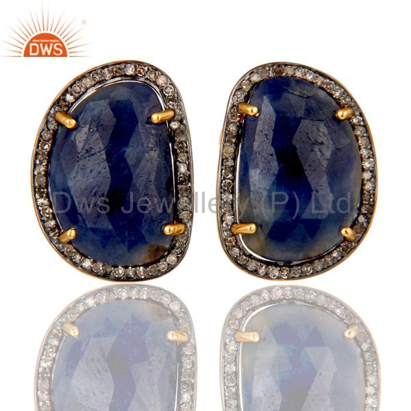 18K Yellow Gold Over Sterling Silver Blue Sapphire and Diamond Stud Earrings