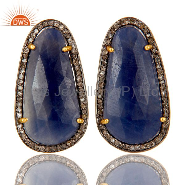 18K Yellow Gold Over Sterling Silver Blue Sapphire Pave Diamond Stud Earrings