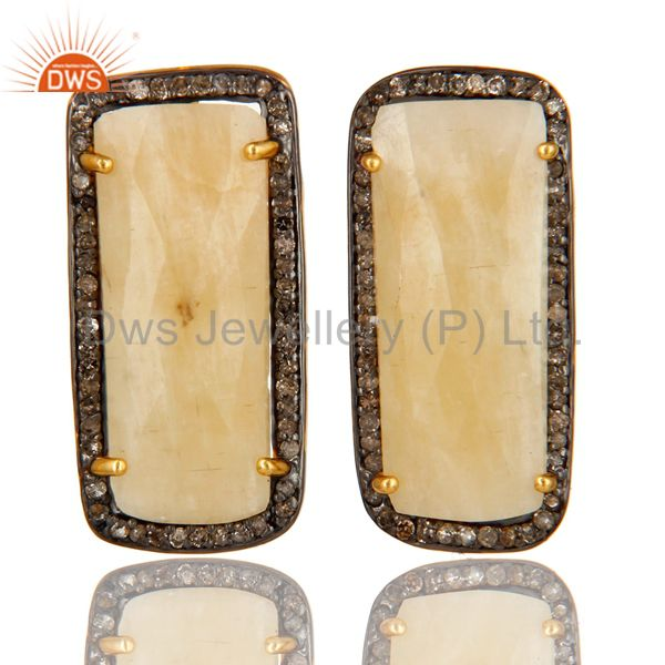 18K Yellow Gold Sterling Silver Yellow Sapphire And Pave Diamond Stud Earrings