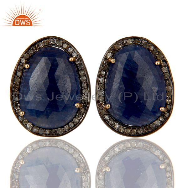 18K Gold Plated 925 Sterling Silver Pave Diamond & Blue Sapphire Studs Earrings