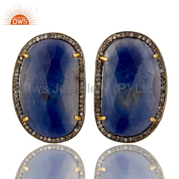18K Yellow Gold Over Sterling Silver Pave Diamond Blue Sapphire Stud Earrings