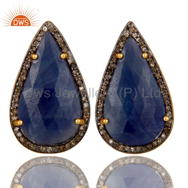 18K Yellow Gold Sterling Silver Pave Set Diamond Blue Sapphire Stud Earrings