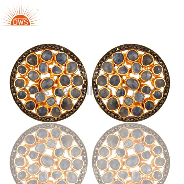 18K Gold Over Silver Blue Sapphire And Pave Set Diamond Round Halo Stud Earrings