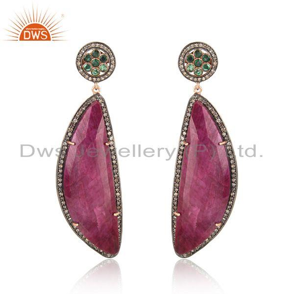 Exquisite Diamond Rose Gold on Silver Earring with Emerald and Ruby