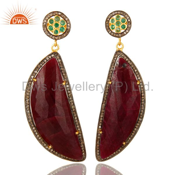 18K Yellow Gold Sterling Silver Pave Diamond And Ruby Slice Dangle Earrings