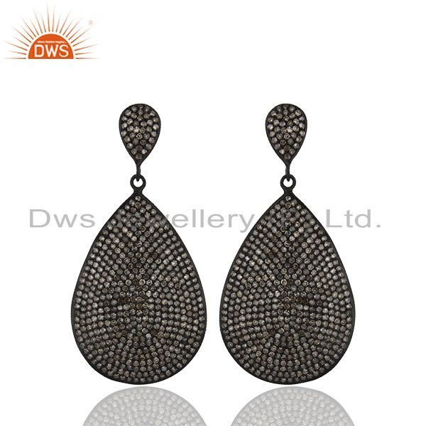 Oxidized Sterling Silver Pave Setting Diamond Teardrop Earrings