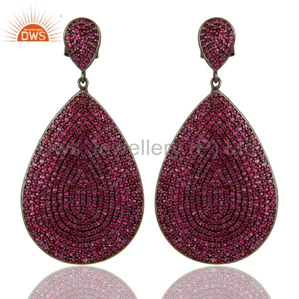 Oxidized Sterling Silver Pave Setting Natural Ruby Teardrop Earrings