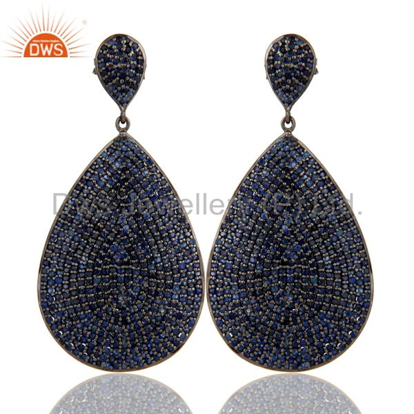 Oxidized Sterling Silver Pave Setting Blue Sapphire Teardrop Earrings