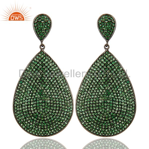 Oxidized Sterling Silver Pave Setting Tsavorite Gemstone Teardrop Earrings