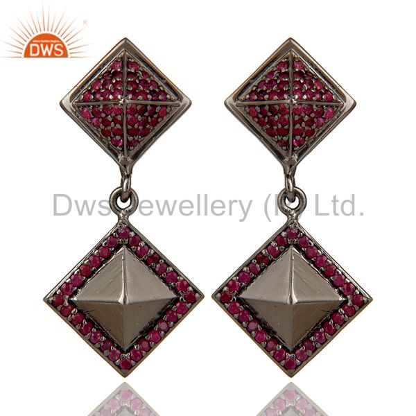 Oxidized Sterling Silver Pave Setting Ruby Birthstone Pyramid Dangle Earring