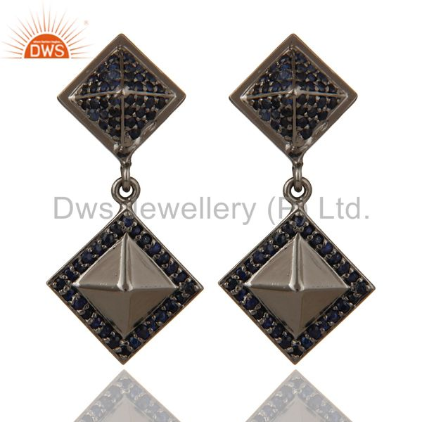 Oxidized Sterling Silver Pave Setting Blue Sapphire Pyramid Dangle Earring