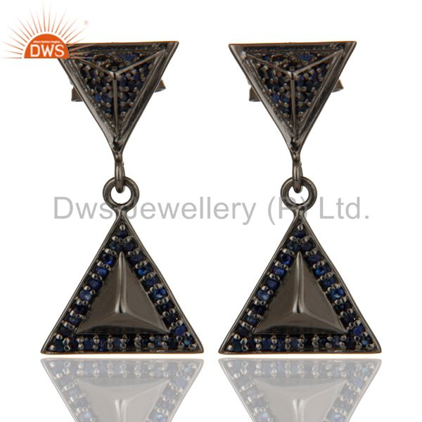 Pave Setting Blue Sapphire Oxidized Sterling Silver Pyramid Dangle Drop Earring