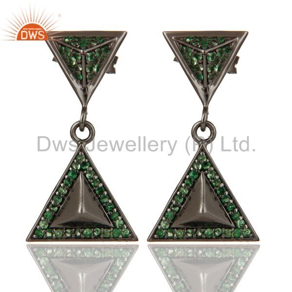 Pave Setting Tsavourite Oxidized Sterling Silver Pyramid Dangle Drop Earring