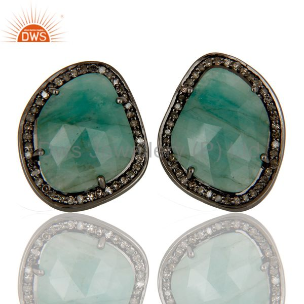 Emerald and Diamond Black Oxidized Sterling Silver Stud Earring