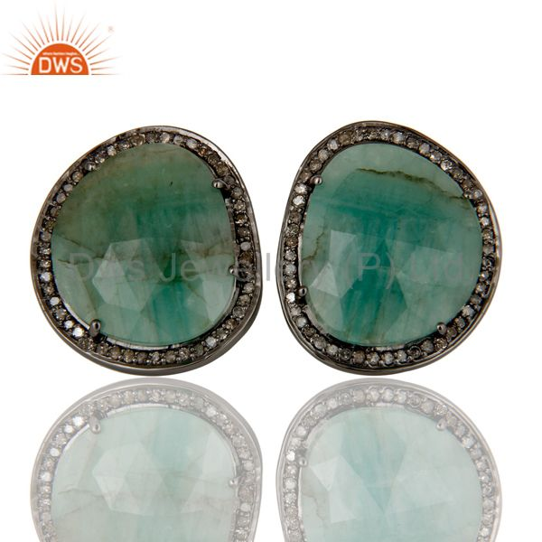Emerald and Diamond Sterling Silver Black Oxidized Stud
