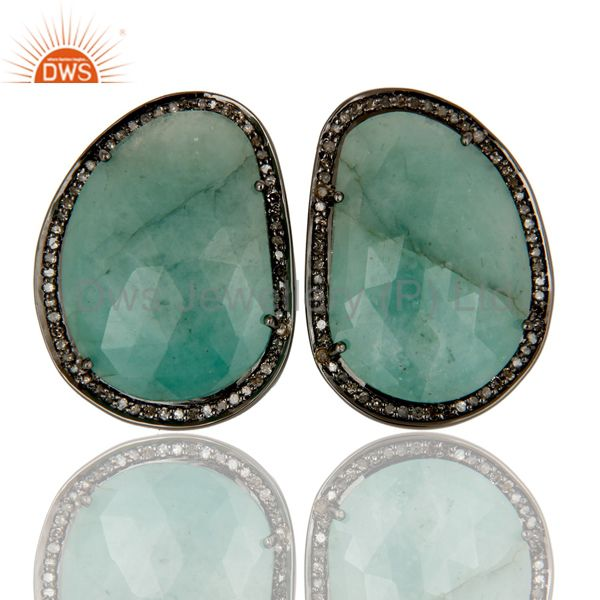 Oxidized Sterling Silver Emerald and Diamond Stud Earring