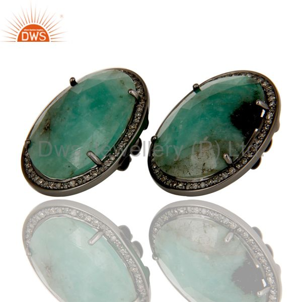 Oxidized Sterling Silver Emerald and Diamond Studs Earrings Jewellery
